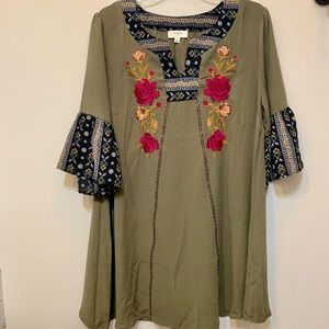 Umgee Multi Print Embroidered Dress Size Small